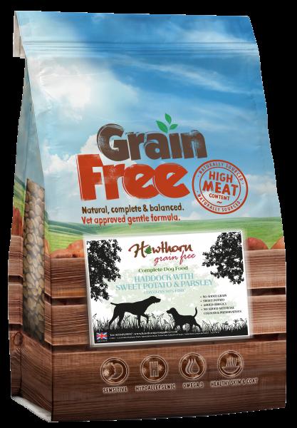 grain free dog food adult - Haddock, Sweet Potato And Parsley bag shot hawthorn