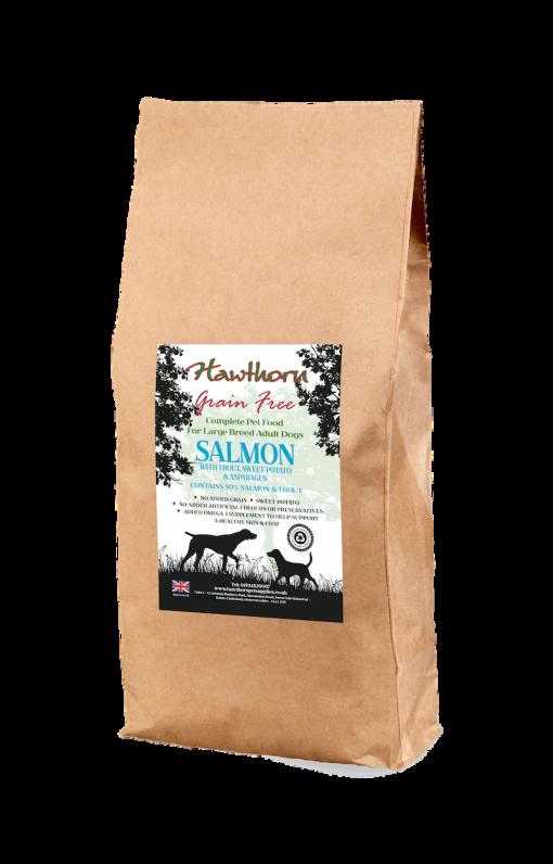 hawthorn pet supplies grain free dog food large breed salmon plain bag shot 15 Kg