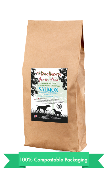 hawthorn pet supplies grain free dog food large salmon plain bag shot