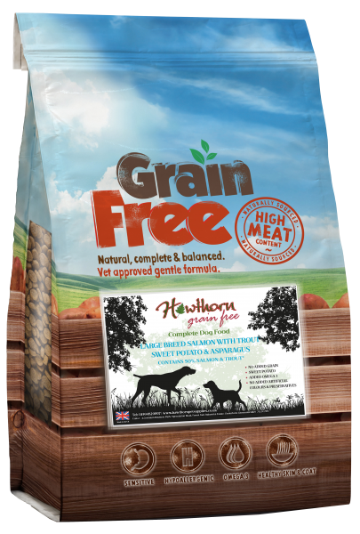 grain free adult dog food large breed salmon, trout sweet potato and asparagus bag shot