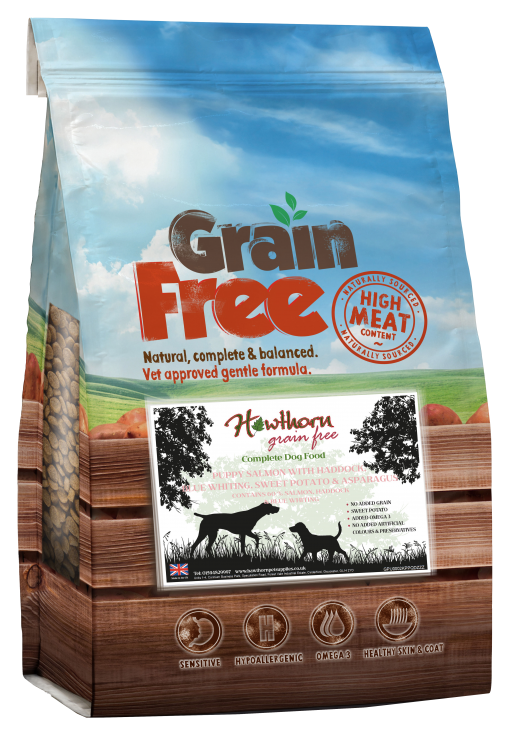 grain free puppy food - Puppy Salmon With Haddock, Blue Whiting, Sweet Potato And Asparagus bag shot hawthorn