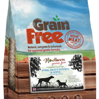 grain free adult dog food pork sweet potato and apple bag shot