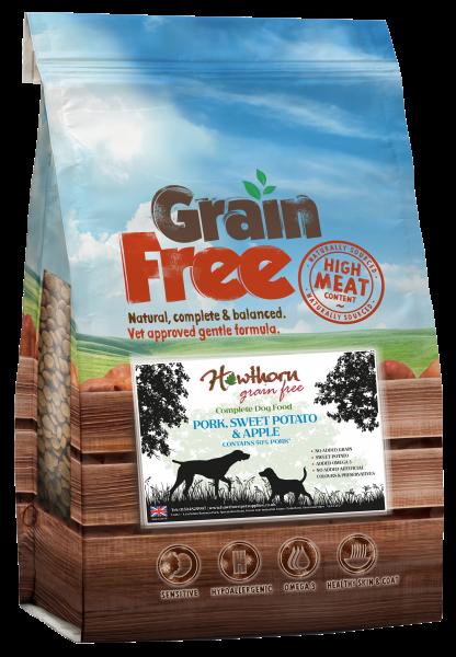 grain free adult dog food pork sweet potato and apple bag shot