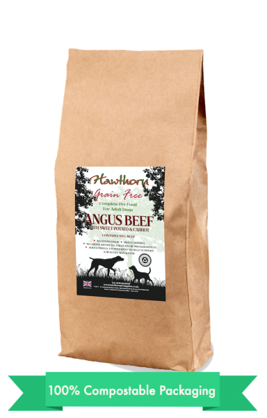 hawthorn pet supplies grain free dog food Angus beef plain bag shot