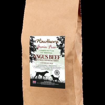 hawthorn pet supplies grain free dog food Angus beef plain bag shot