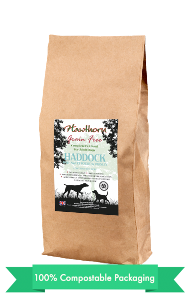 hawthorn pet supplies grain free dog food haddock plain bag shot