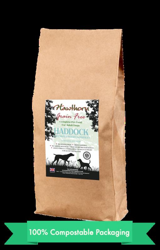 hawthorn pet supplies grain free dog food haddock plain bag shot