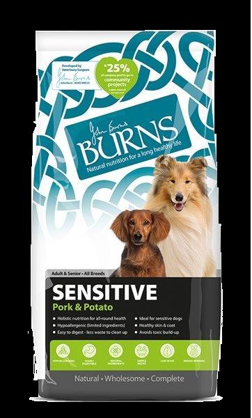 Burns Sensitive Adult Senior Dog Food Pork and Potato