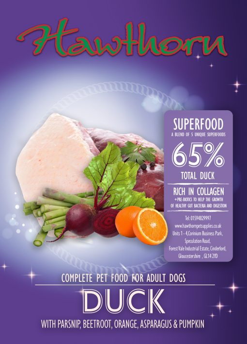 hawthorn pet supplies superfood 65 dog food high quality duck flavour label