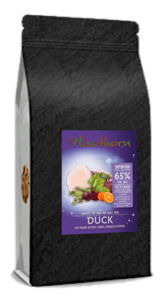 hawthorn pet supplies superfood 65 dog food high quality duck flavour bag shot