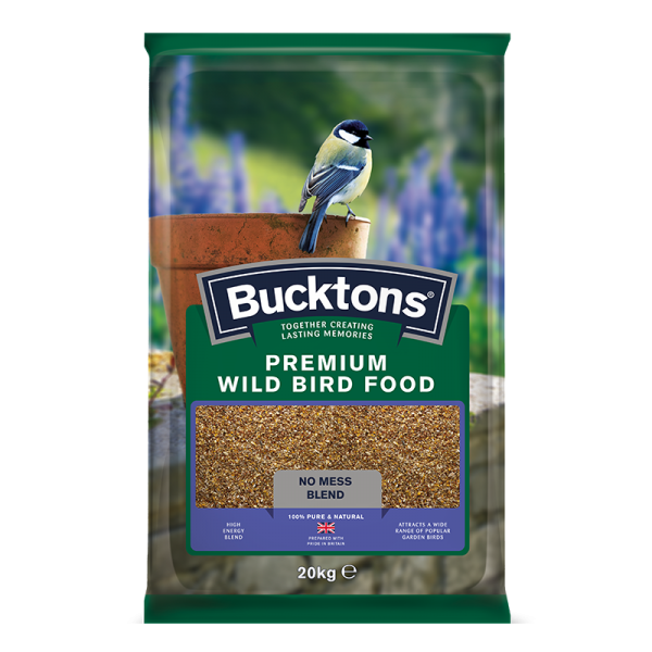 bucktons premium mess free wild bird food bag shot - seed mix/blend for wild garden birds