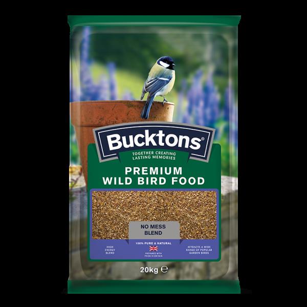 bucktons premium mess free wild bird food bag shot - seed mix/blend for wild garden birds