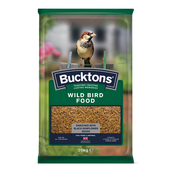 bucktons wild bird food bag shot - seed mix/blend for wild garden birds
