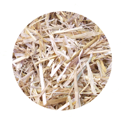 chopped straw bedding with eucalyptus fragrance dust extracted close up