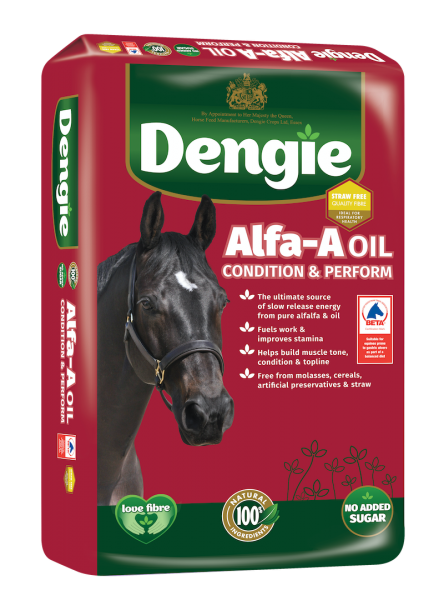 Dengie alfa-a oil bag shot, fibre feed for horses and ponies