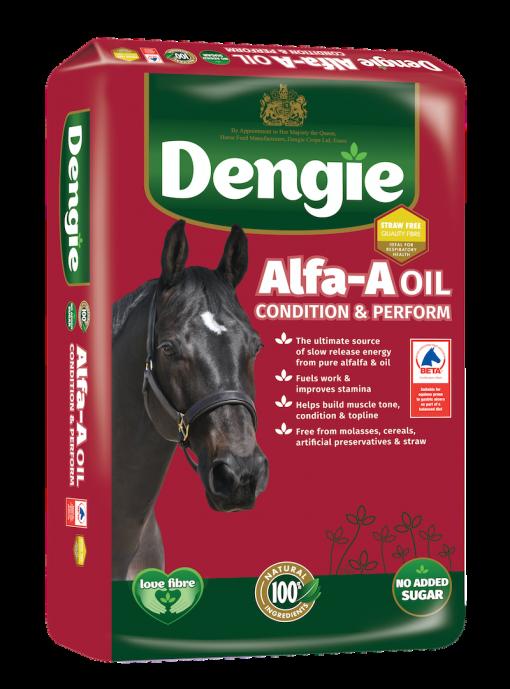 Dengie alfa-a oil bag shot, fibre feed for horses and ponies