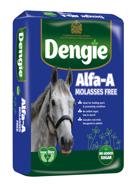 Dengie alfa-a Molasses Free bag shot, fibre feed for horses and ponies
