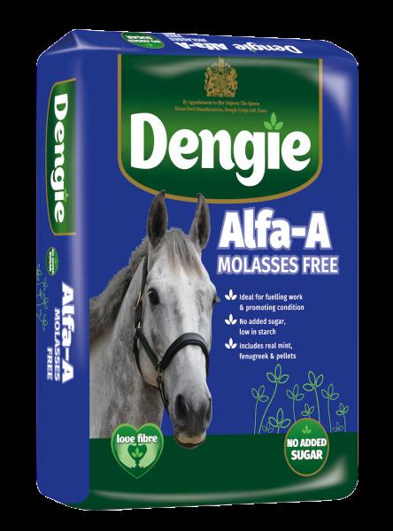 Dengie alfa-a Molasses Free bag shot, fibre feed for horses and ponies