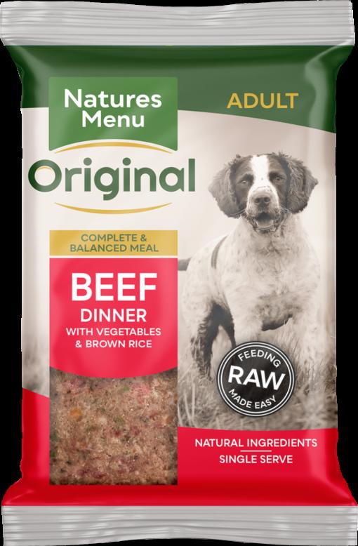 Natures Menu Original Frozen Adult Block meals beef flavour pack shots