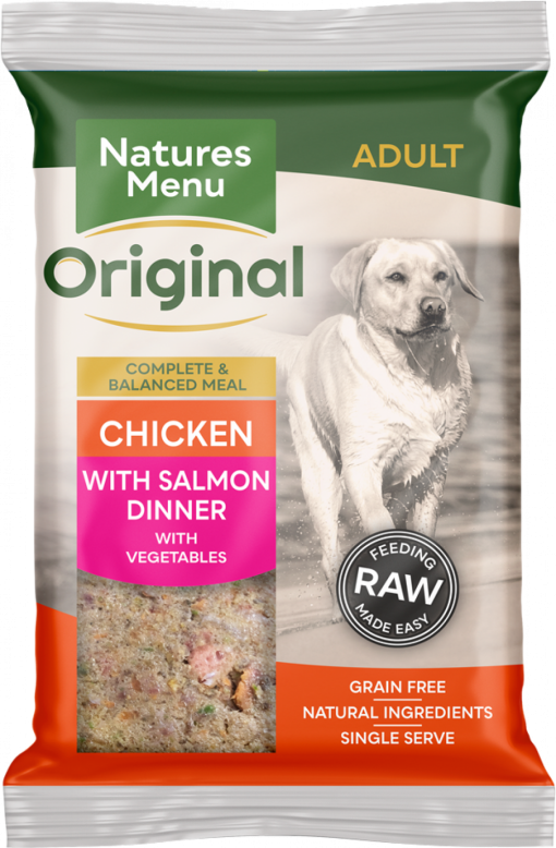 Natures Menu Original Frozen Adult Block meals chicken with salmon flavour pack shots