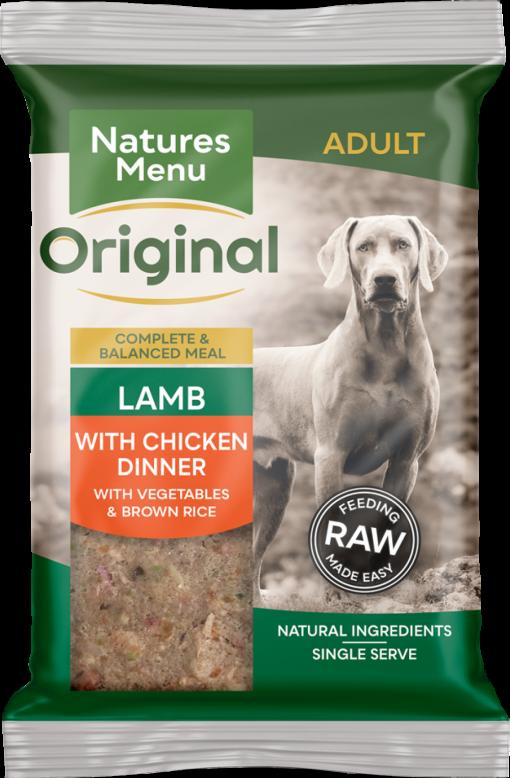 Natures Menu Original Frozen Adult Block meals Lamb with chicken flavour pack shots