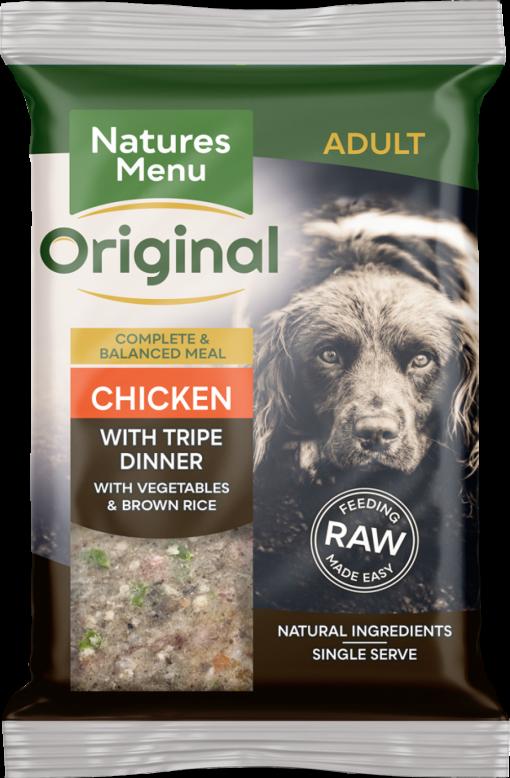 Natures Menu Original Frozen Adult Block meals chicken with tripe flavour pack shots