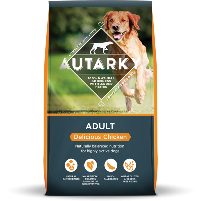 Autarky adult chicken dog food bag shot