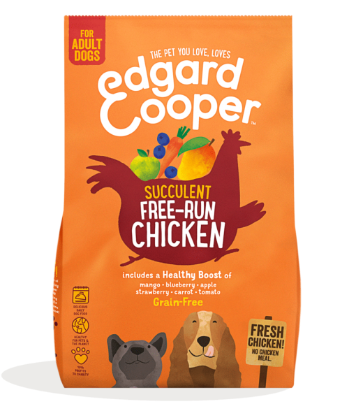 Edgard And Cooper Free-Run Chicken Adult dog food with mango, blueberry, apple and carrot bag shot