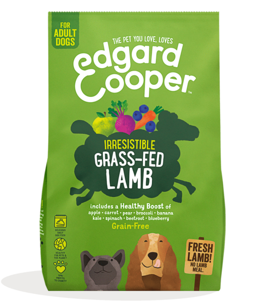 Edgard And Cooper grass-fed lamb Adult dog food with apple, carrot, beetroot and blueberry bag shot