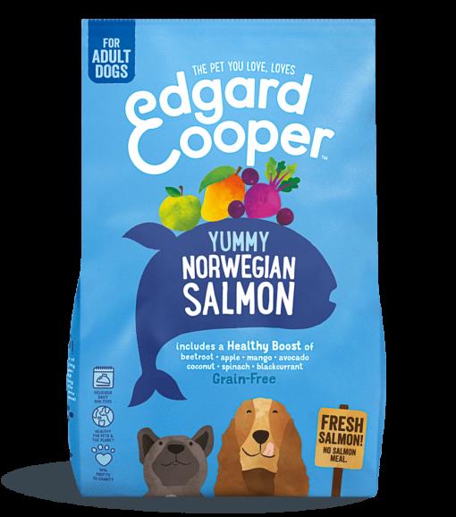 Edgard And Cooper norwegian salmon adult dog food with beetroot, apple, mango & blackcurrant bag shot
