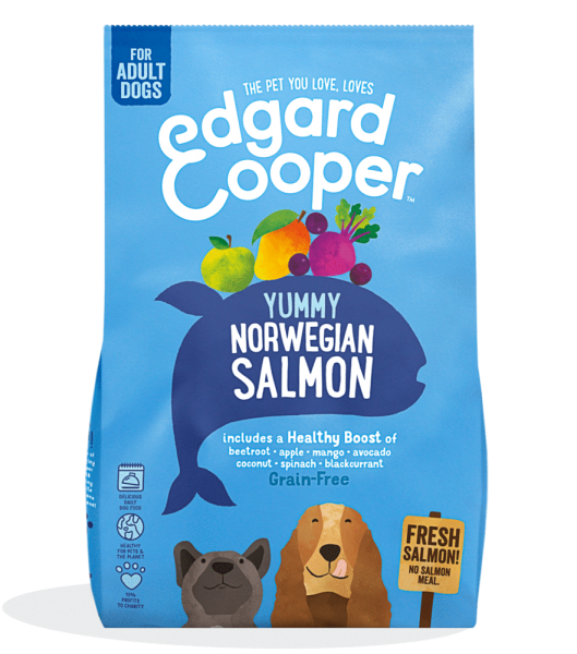 Edgard And Cooper norwegian salmon adult dog food with beetroot, apple, mango & blackcurrant bag shot