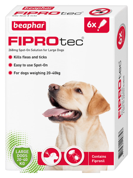 Beaphar FIPROtec Spot-On for Large Dogs 6 Pipette pack product image