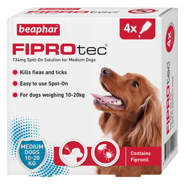 Beaphar FIPROtec Spot-On for Medium Dogs 4 Pipette pack product image