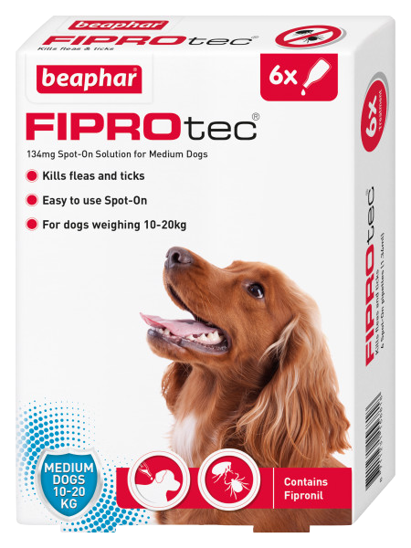 Beaphar FIPROtec Spot-On for Medium Dogs 6 Pipette pack product image
