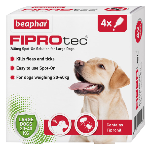 Beaphar FIPROtec Spot-On for Large Dogs 4 Pipette pack product image