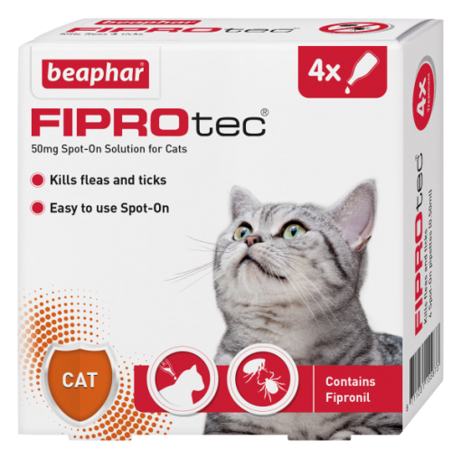 Beaphar FIPROtec Spot-On for Cats 4 Pipette Pack Product Image